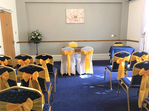 Our Ceremony Room – chairs dressed by our customers